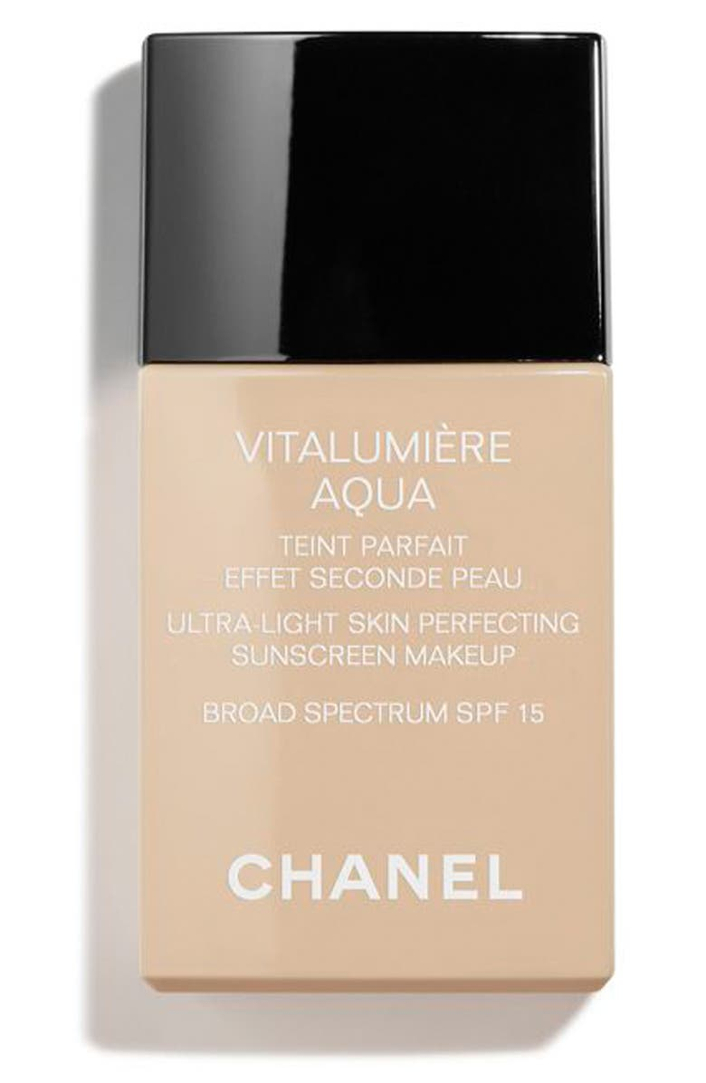 CHANEL VITALUMIÈRE AQUA <br />Ultra-Light Skin Perfecting Sunscreen Makeup Broad Spectrum SPF 15, Main, color, 12 BEIGE ROSE