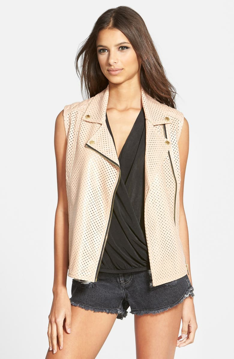 WHITNEY EVE 'Rabbit Beach' Perforated Faux Leather Vest, Main, color, 250