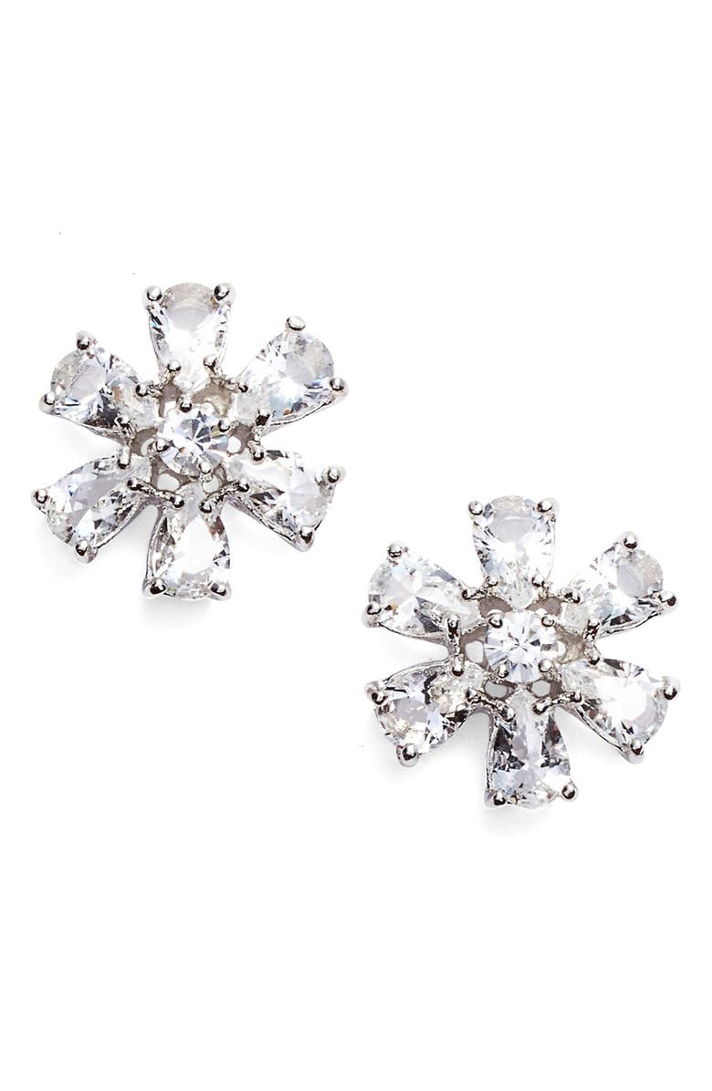 KATE SPADE NEW YORK 'be adorned' crystal stud earrings, Main, color, CLEAR/ SILVER
