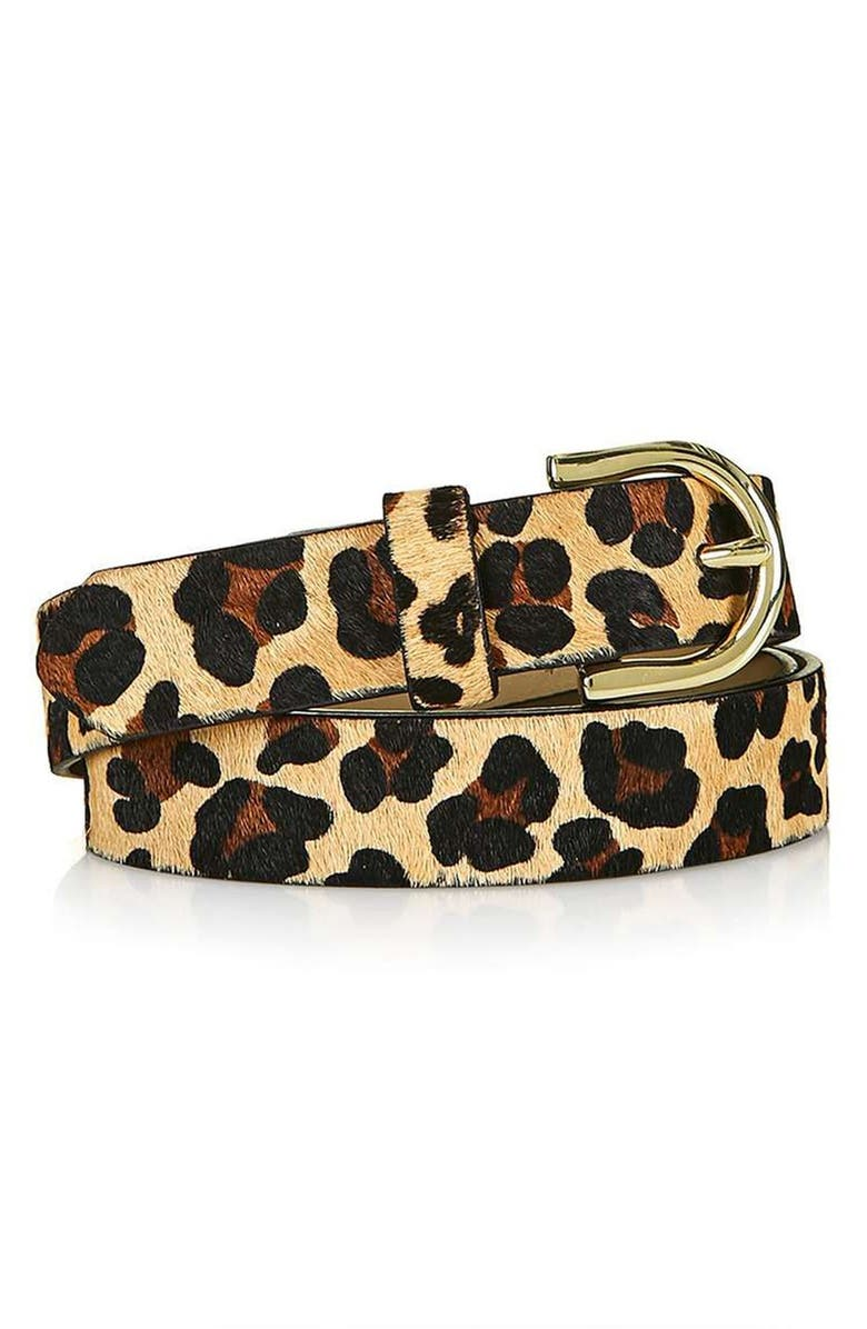 TOPSHOP Leopard Print Genuine Calf Hair Belt, Main, color, 200