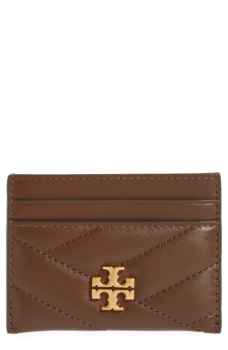 TORY BURCH Kira Chevron Leather Card Case, Main, color, FUDGE / 59 ROLLED BRASS