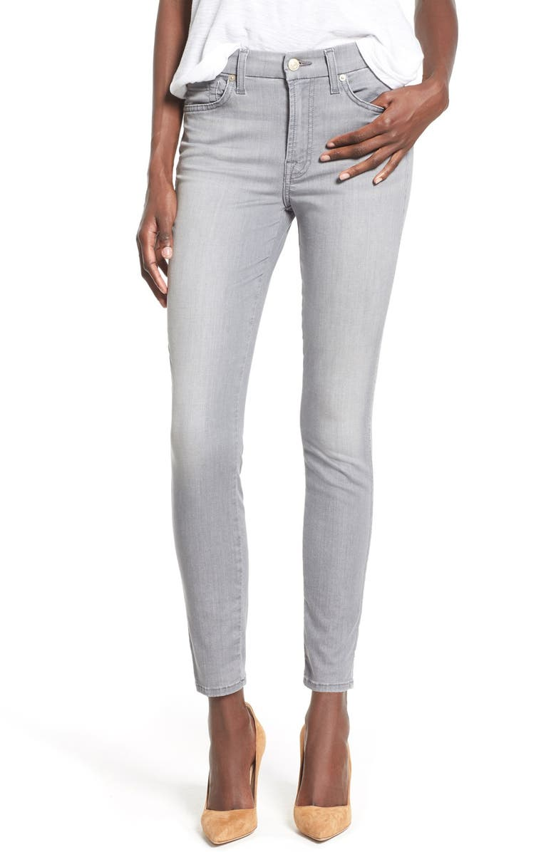 7 FOR ALL MANKIND <sup>®</sup> Ankle Skinny Jeans, Main, color, FEATHERWEIGHT GREY