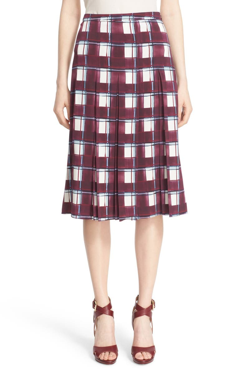 NORDSTROM SIGNATURE AND CAROLINE ISSA Print Stretch Silk Pleated Midi Skirt, Main, color, 610