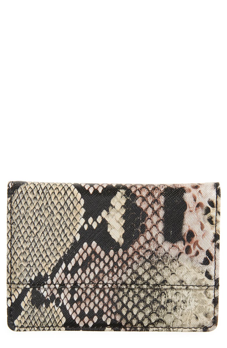 NORDSTROM Ruby Saffiano Leather Cardholder, Main, color, PINK CREOLE SNAKE