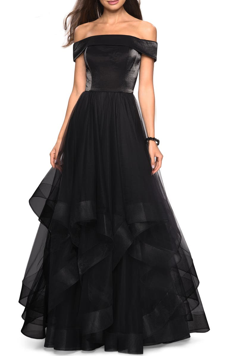 LA FEMME Off the Shoulder Evening Dress, Main, color, BLACK