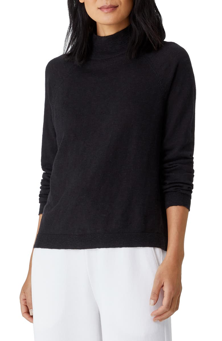 EILEEN FISHER Funnel Neck Linen & Cotton Sweater, Main, color, 001