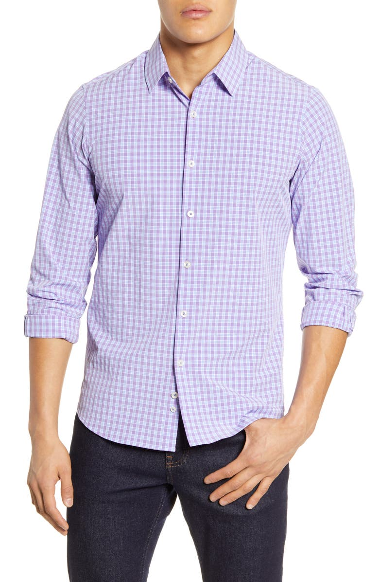 MOVE PERFORMANCE APPAREL Check Button-Up Performance Shirt, Main, color, 500