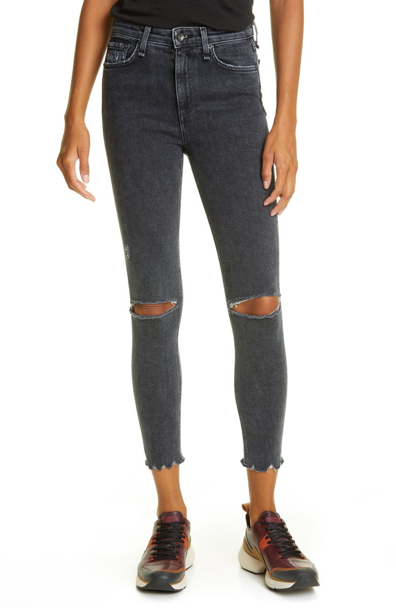 RAG & BONE Nina Ripped High Waist Ankle Skinny Jeans, Main, color, 020