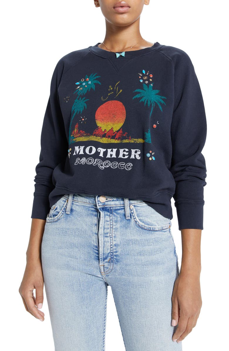 MOTHER The Square Embellished Morocco Graphic Sweatshirt, Main, color, 001