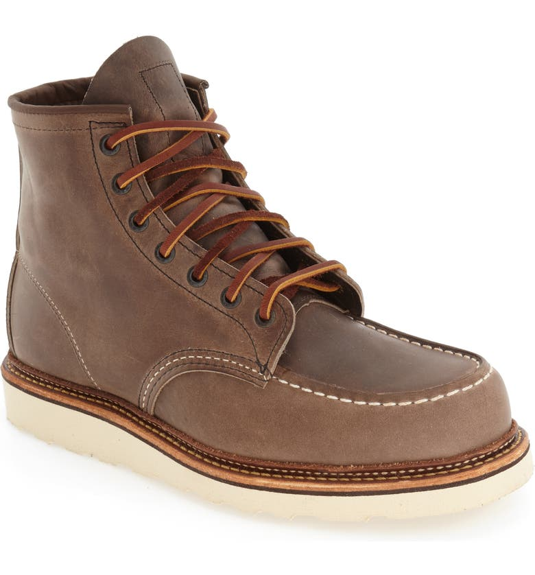 RED WING 6 Inch Moc Toe Boot, Main, color, CONCRETE LEATHER