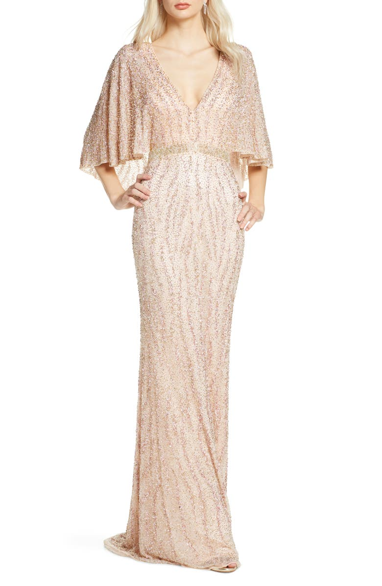 MAC DUGGAL Beaded Cape Sleeve Evening Gown, Main, color, PORCELAIN