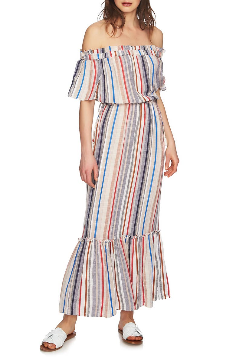 1.STATE Cinched Waist Off the Shoulder Maxi Dress, Main, color, 908