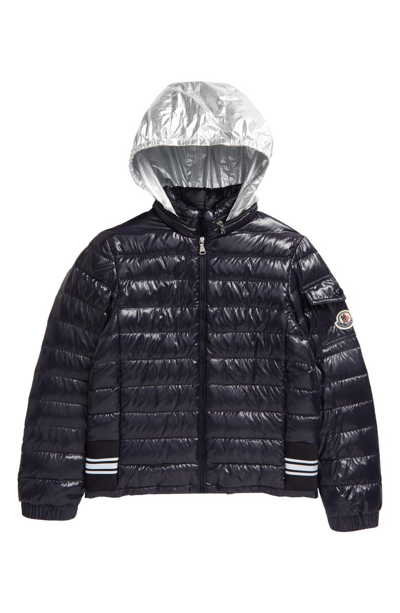 MONCLER Kids' Anatolios Laque Quilted Down Jacket, Main, color, NAVY