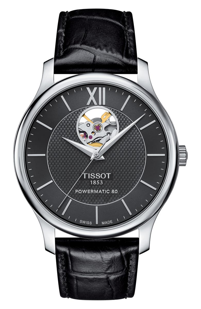 TISSOT Tradition Leather Strap Watch, 40mm, Main, color, 001