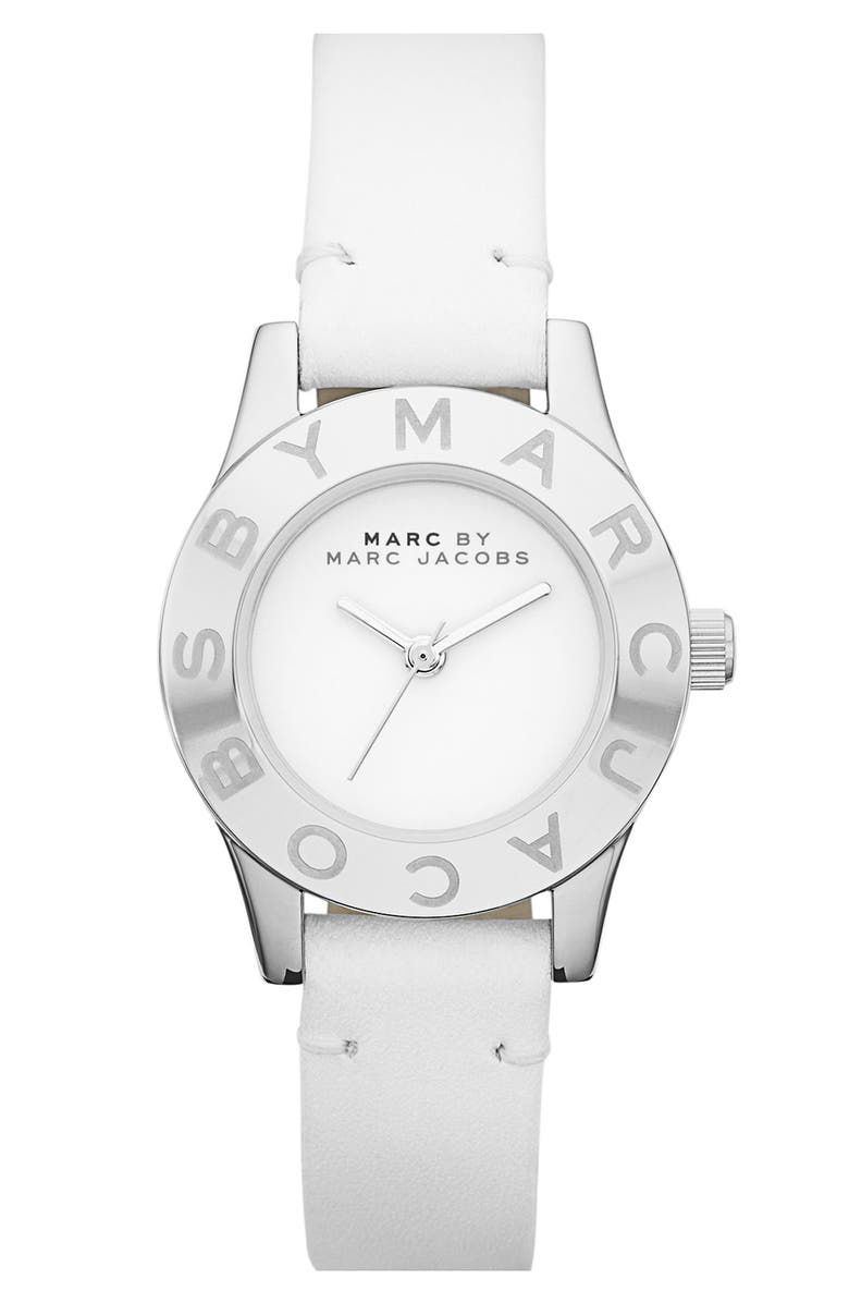 MARC BY MARC JACOBS 'Blade' Round Leather Strap Watch, Main, color, 102