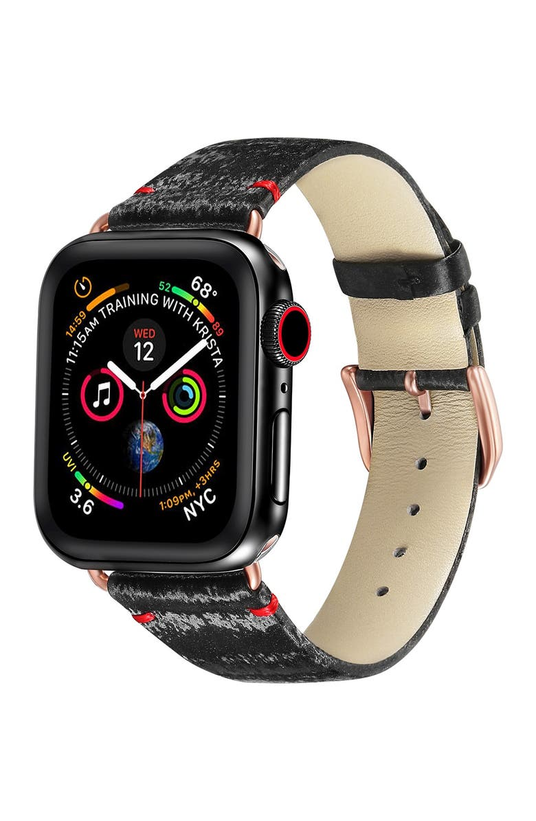 POSH TECH Black/Rose Gold Silk & Leather 42mm Apple Watch 1/2/3/4 Band, Main, color, BLACK WITH ROSE GOLD