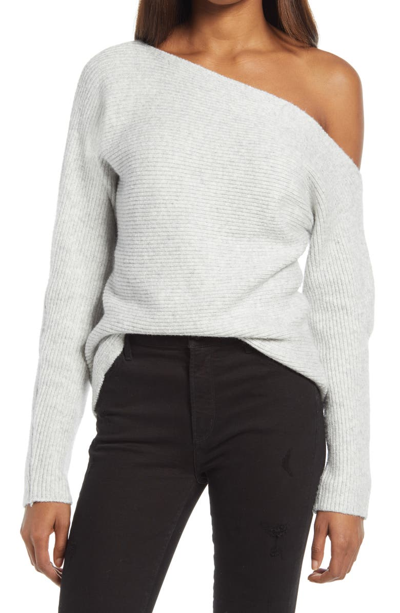 TREASURE & BOND Ribbed One-Shoulder Pullover, Main, color, GREY LIGHT HEATHER
