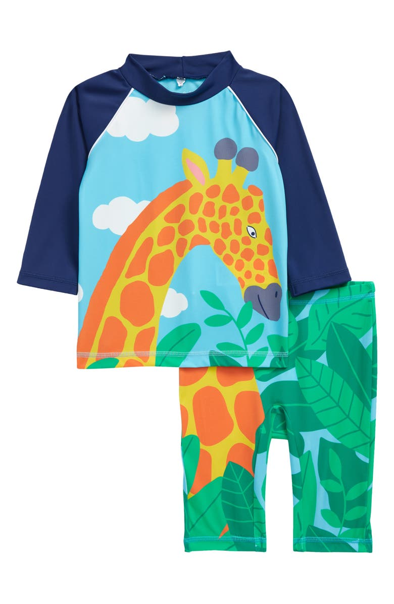MINI BODEN Kids' Surf Suit Two-Piece Rasghuard Swimsuit, Main, color, COLLEGE NAVY GIRAFFE