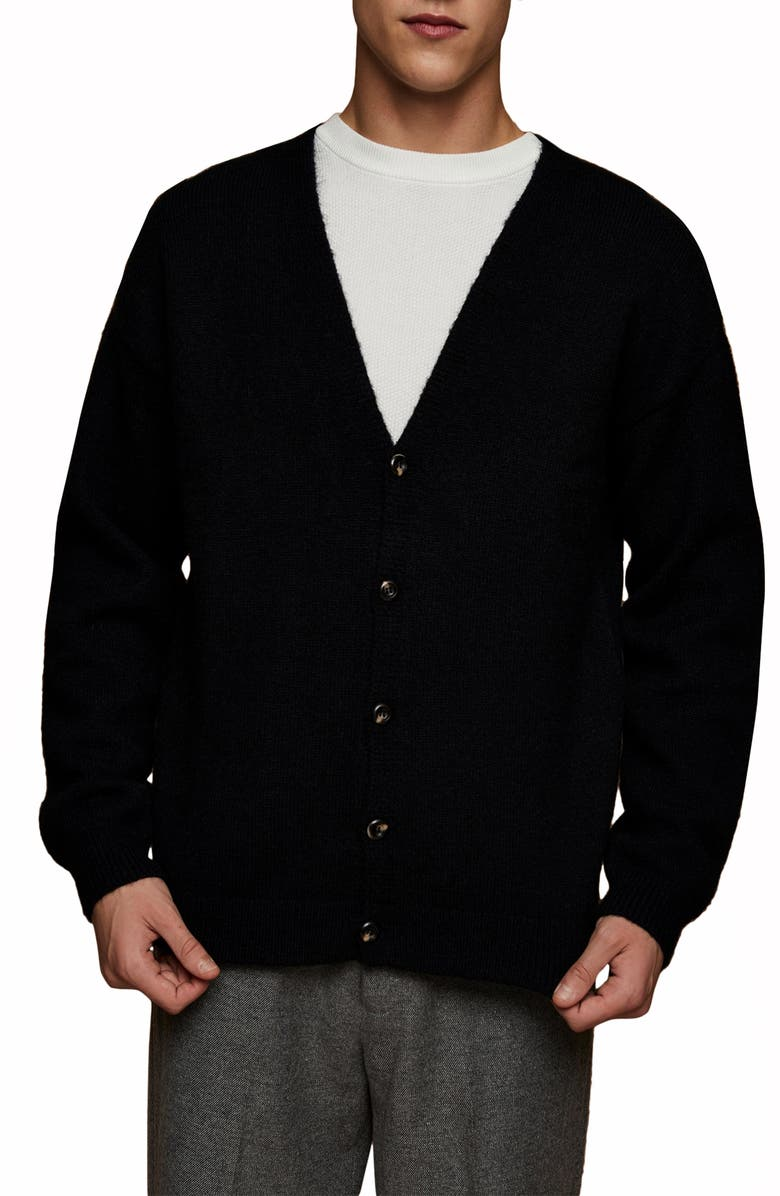 TOPMAN Fluffy Knit Classic Fit Cardigan, Main, color, 001
