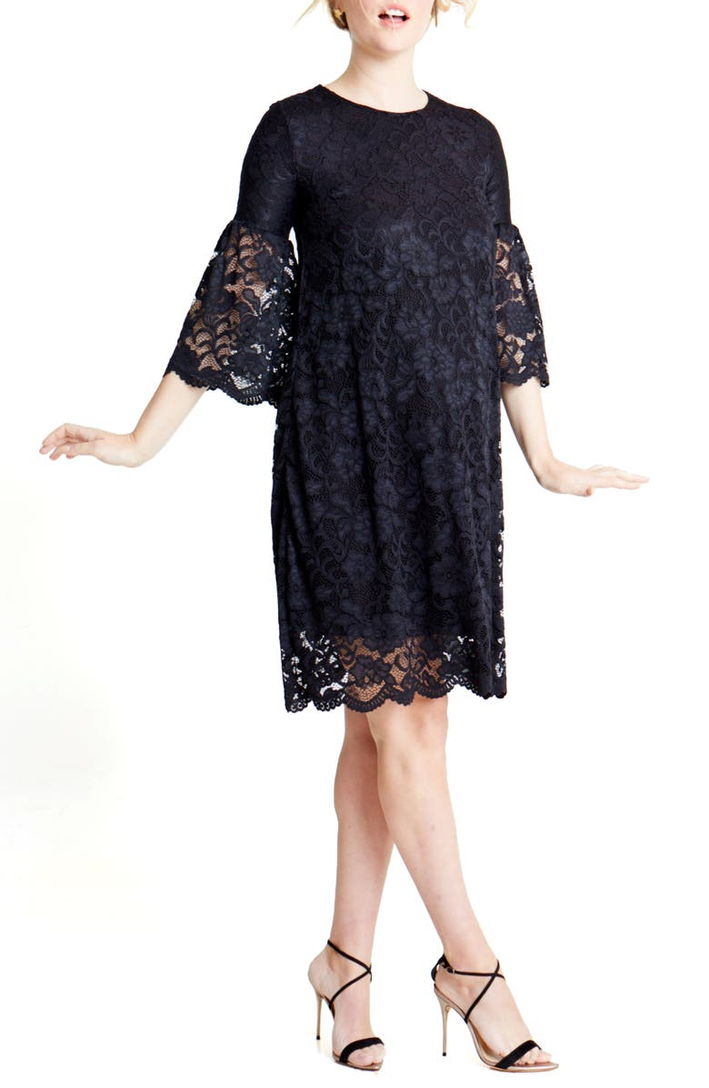 INGRID & ISABEL<SUP>®</SUP> Lace Bell Sleeve Maternity Dress, Main, color, 006