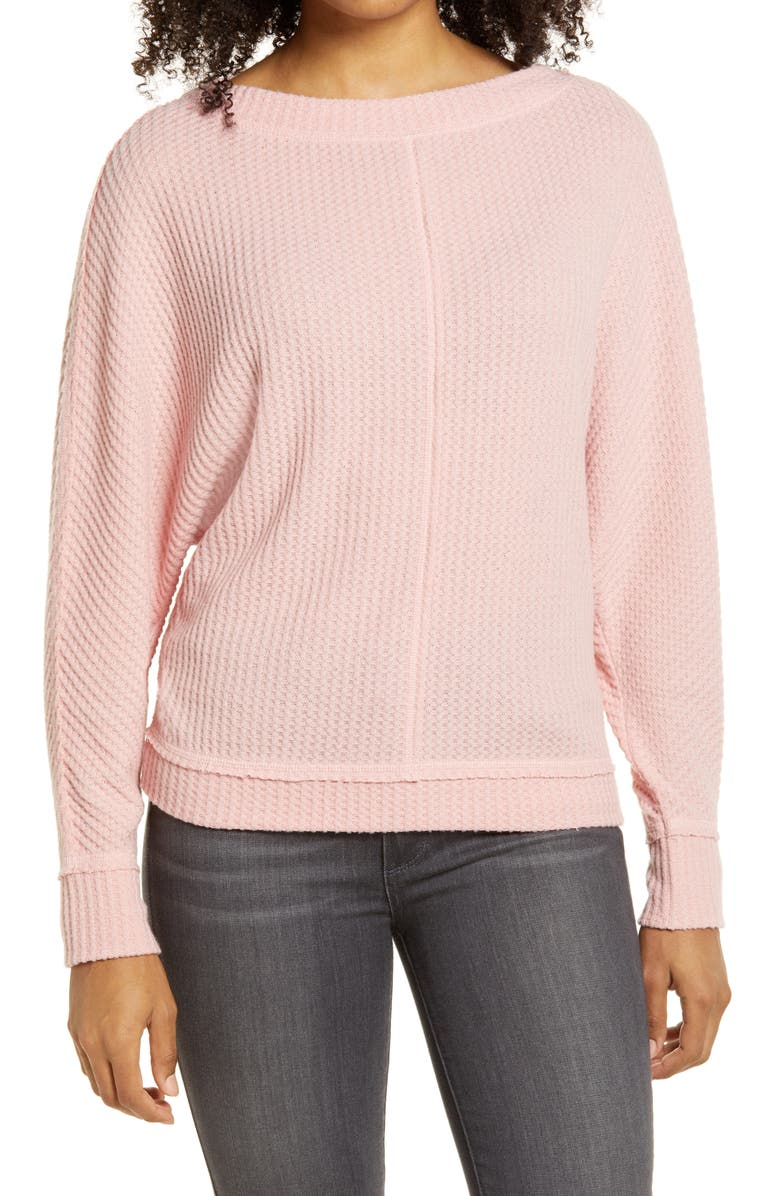 CASLON<SUP>®</SUP> Dolman Sleeve Thermal Top, Main, color, PINK BRIDE