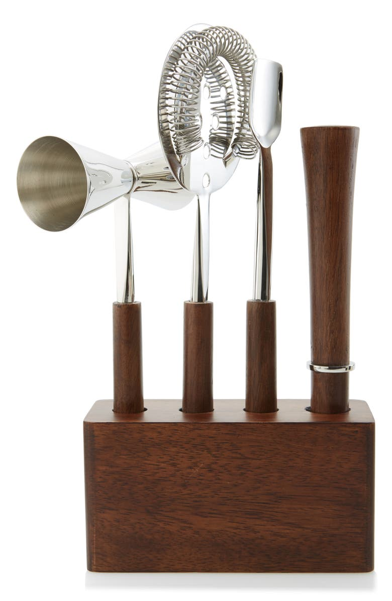 NORDSTROM at Home 4-Piece Stainless Steel & Wood Bar Set, Main, color, 040
