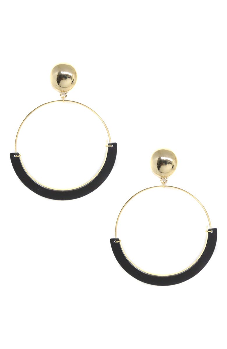 ETTIKA Gold Wire & Resin Hoop Earrings, Main, color, 001
