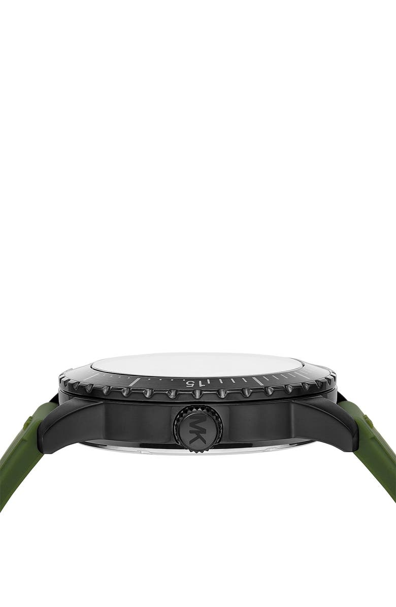 MICHAEL MICHAEL KORS Men's Cunningham Multifunction Olive Silicone Watch, 44mm, Main, color, BLACK