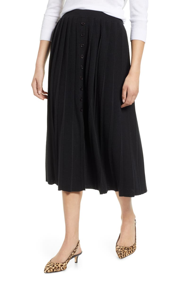 1901 Pleated Sweater Skirt, Main, color, Black