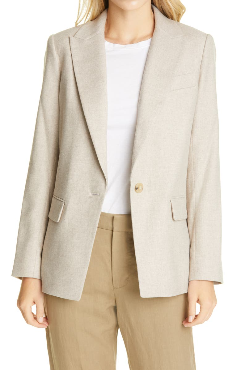VINCE Boyfriend Flannel Blazer, Main, color, OATMEAL