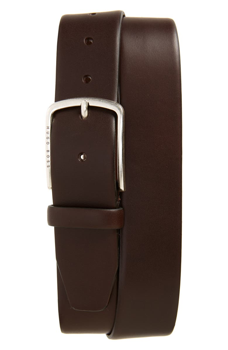 HUGO Sander Leather Belt, Main, color, DARK BROWN
