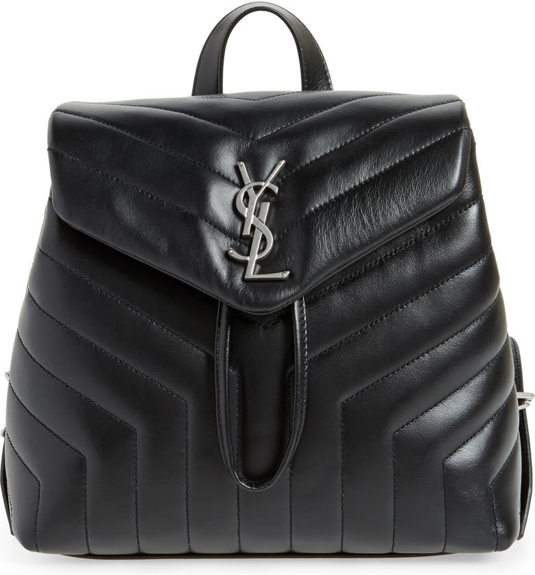 SAINT LAURENT Small Loulou Quilted Calfskin Leather Backpack, Main, color, NOIR