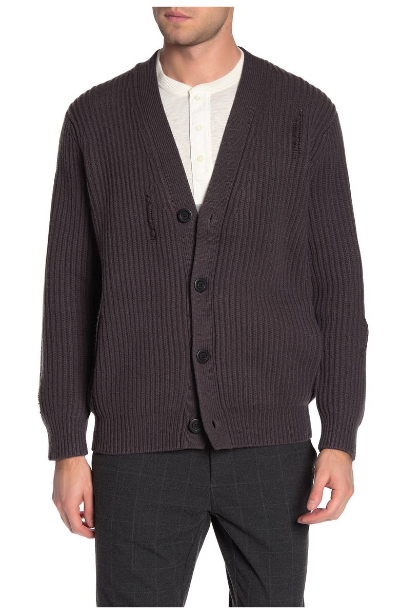 VINCE Distressed Ribbed Cardigan, Main, color, BURNT WOOD