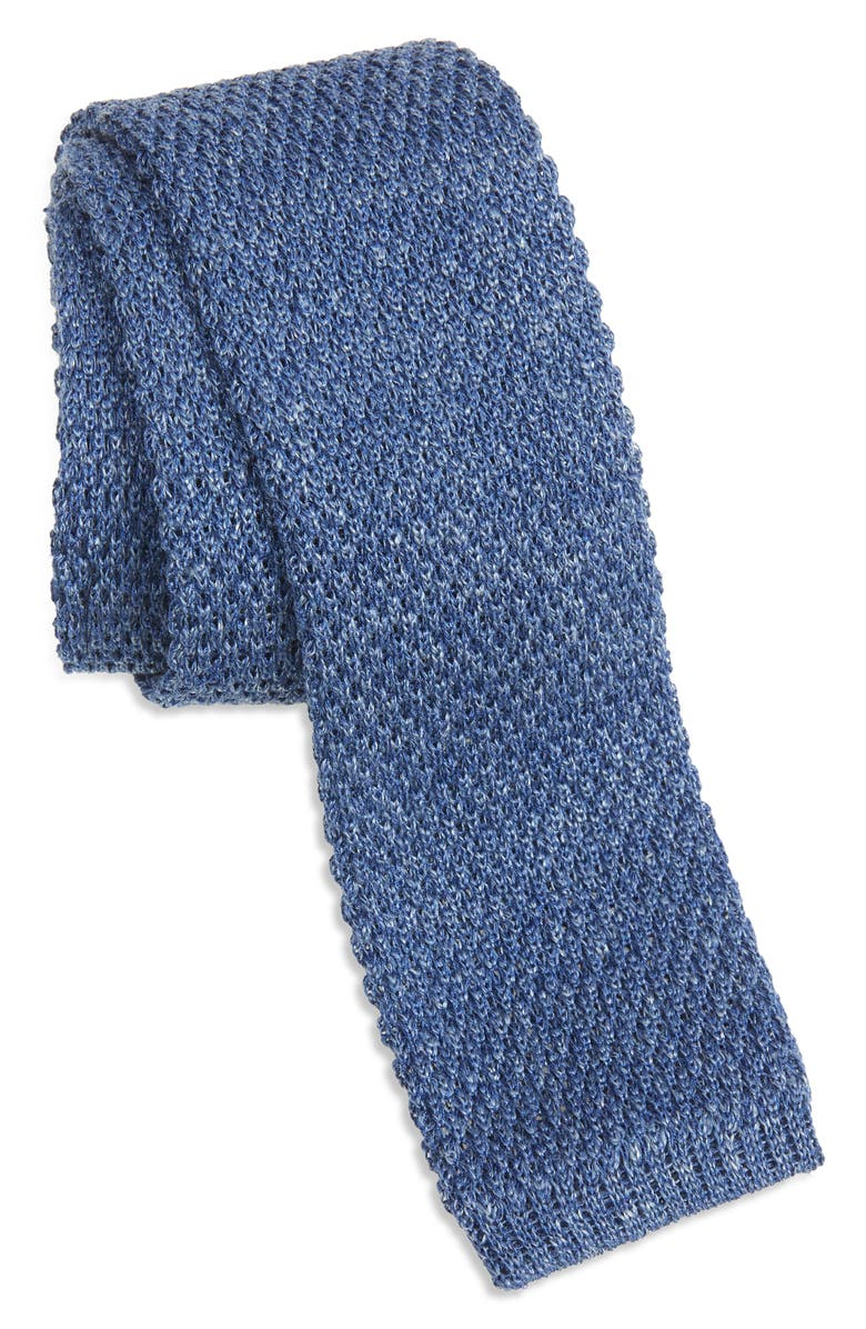 TED BAKER LONDON Solid Knit Linen & Silk Skinny Tie, Main, color, Blue