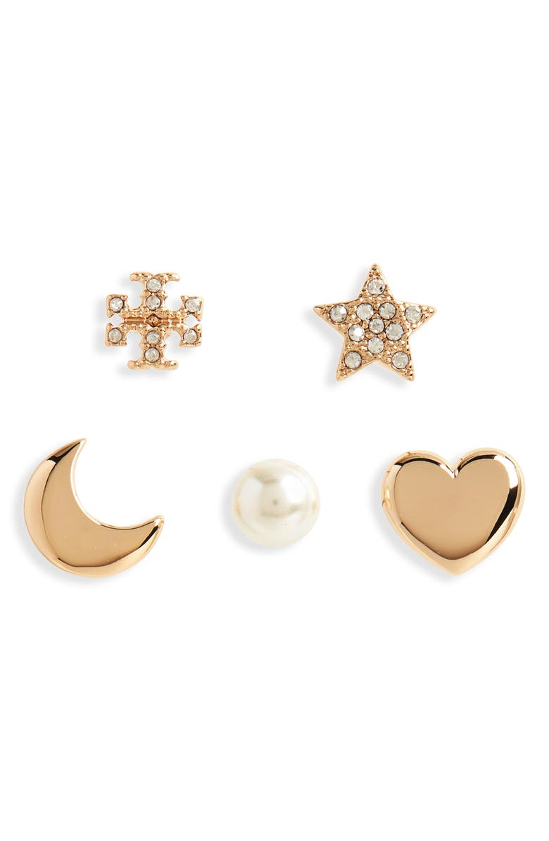 TORY BURCH Set of 5 Celestial Crystal & Imitation Pearl Mismatched Stud Earrings, Main, color, TORY GOLD / SILVER / PEARL