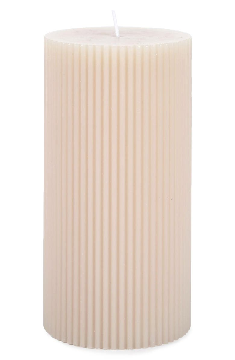 THE FLORAL SOCIETY Six-Inch Fancy Pillar Candle, Main, color, PARCHMENT