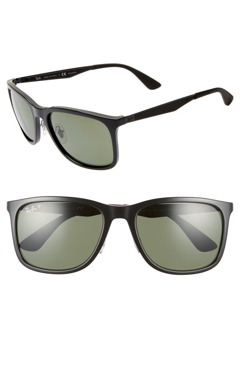 RAY-BAN 58mm Polarized Sunglasses, Main, color, BLACK