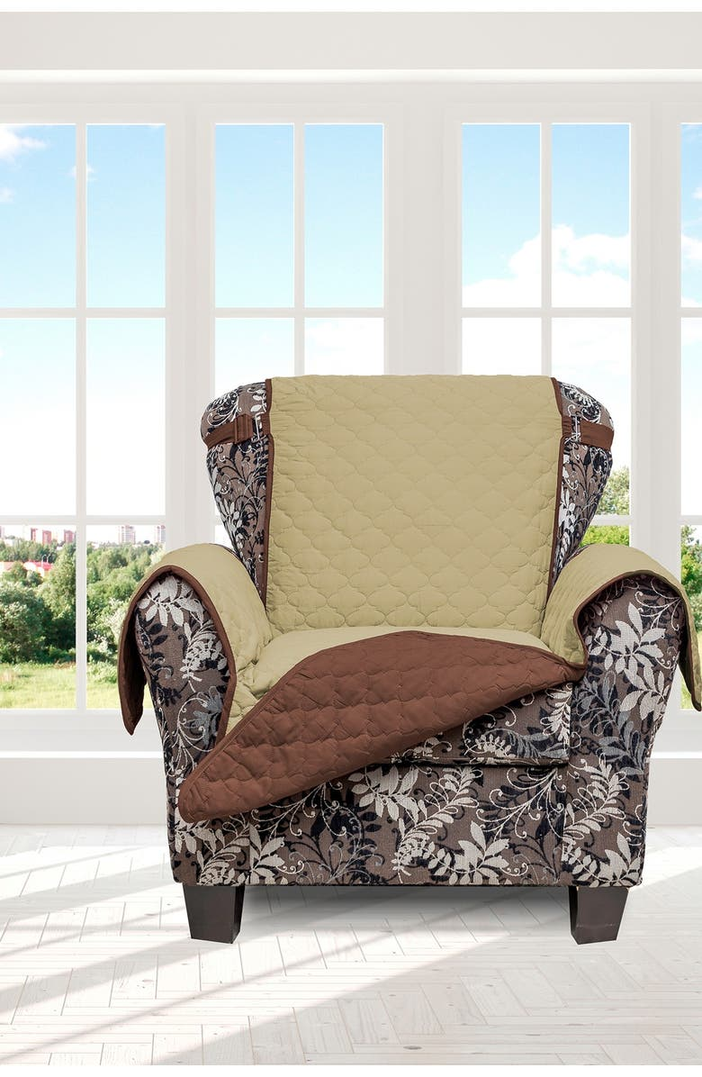 DUCK RIVER TEXTILE Reynold Reversible Water Resistant Chair Cover With Pockets - Sage/Chocolate, Main, color, SAGE/CHOCOLATE