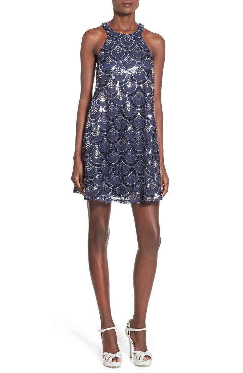 WAY-IN High Neck Sequin Dress, Main, color, NAVY/ SILVER