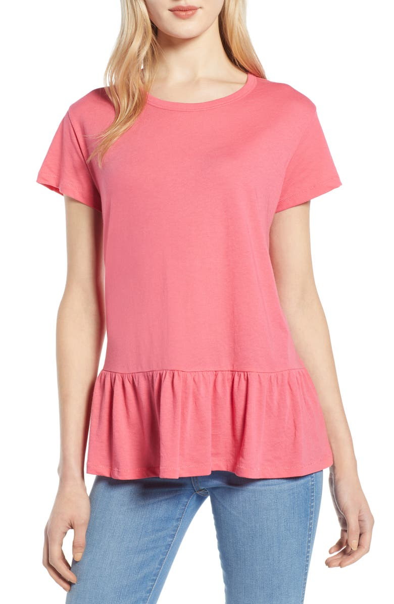 CASLON<SUP>®</SUP> Peplum Tee, Main, color, 651