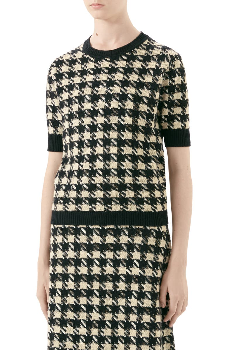 GUCCI Houndstooth Jacquard Cashmere & Silk Sweater, Main, color, 001