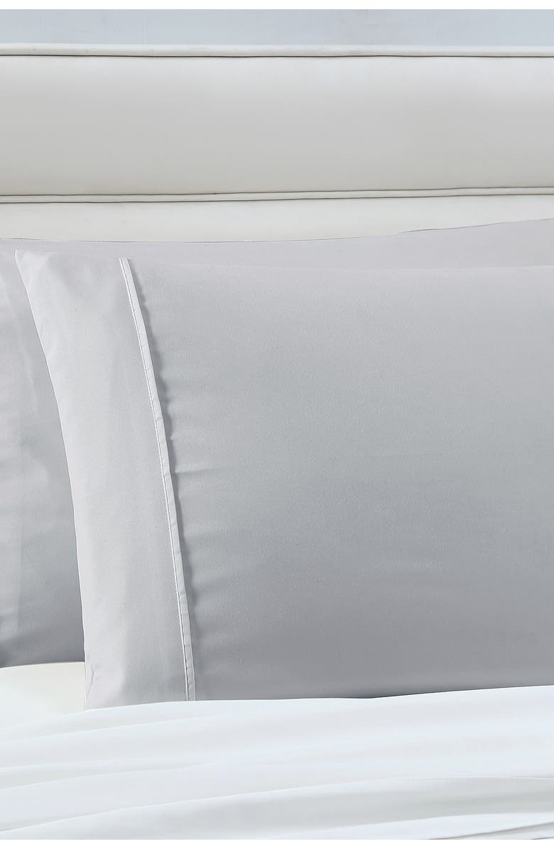 MODERN THREADS Manor Ridge Luxury 100 Gsm Brushed Microfiber Hypoallergenic Pillowcases - Set Of 2 - Silver - King, Main, color, SILVER
