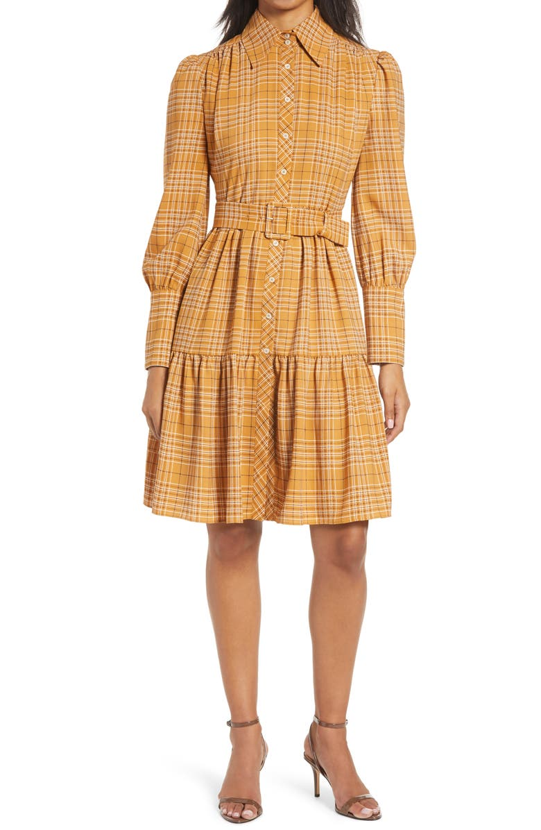 HALOGEN<SUP>®</SUP> x Atlantic-Pacific Belted Long Sleeve Shirtdress, Main, color, 210