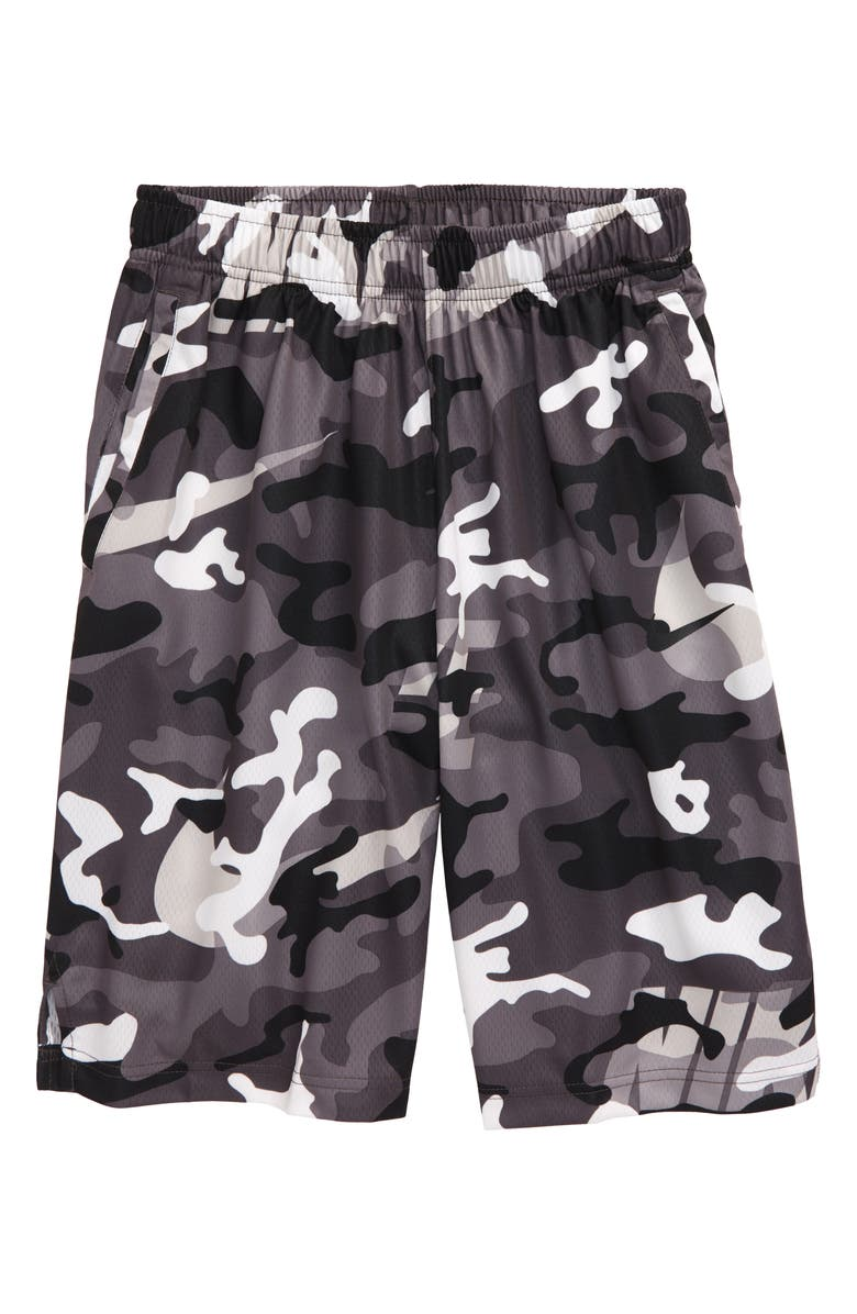 NIKE Dry Camo Athletic Shorts, Main, color, 100