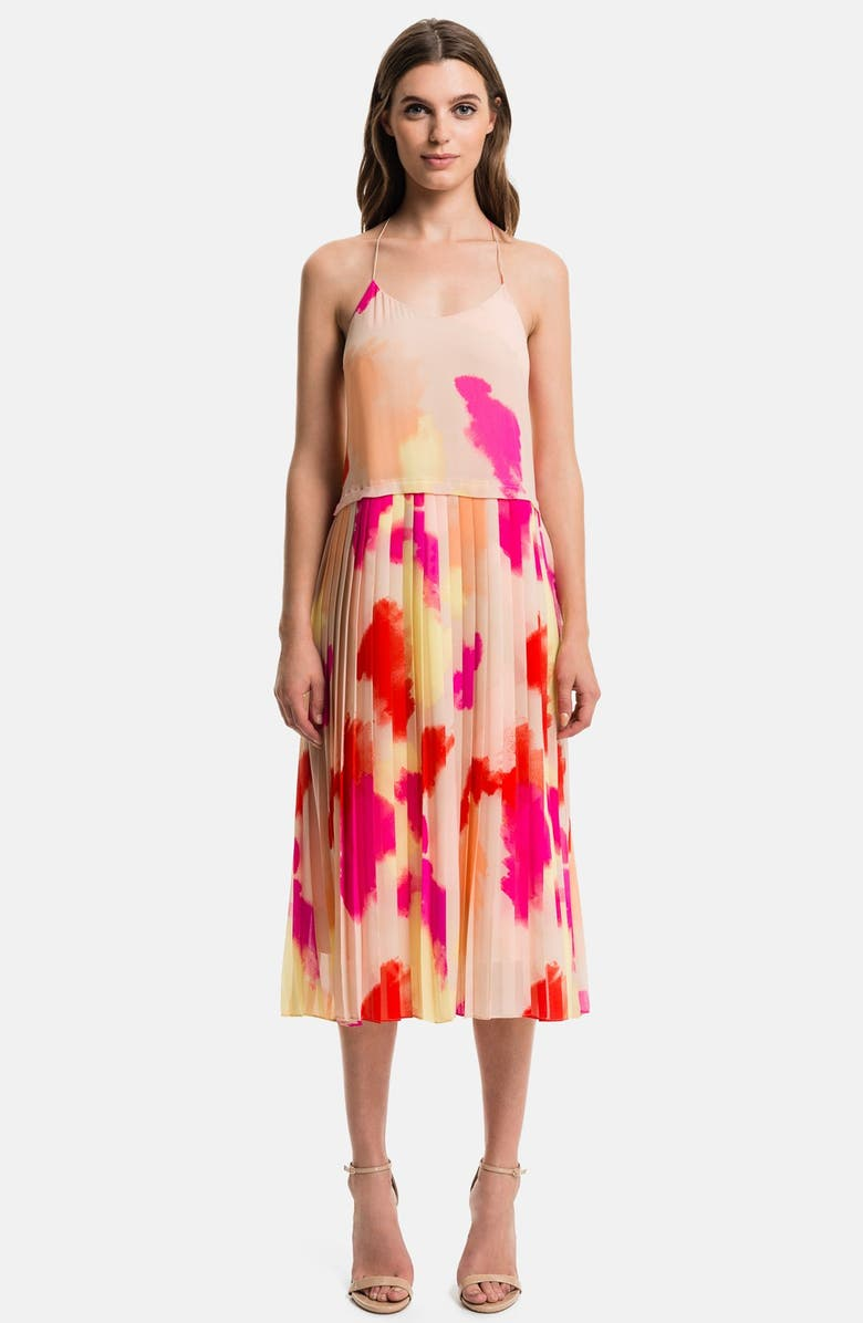1.STATE Pleated Overlay Dress, Main, color, SAND