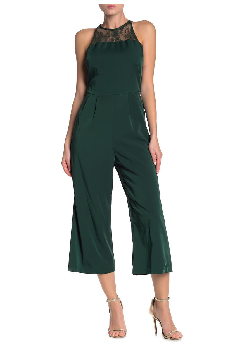 ONE ONE SIX Lace Sleeveless Jumpsuit, Main, color, HUNTER GREEN