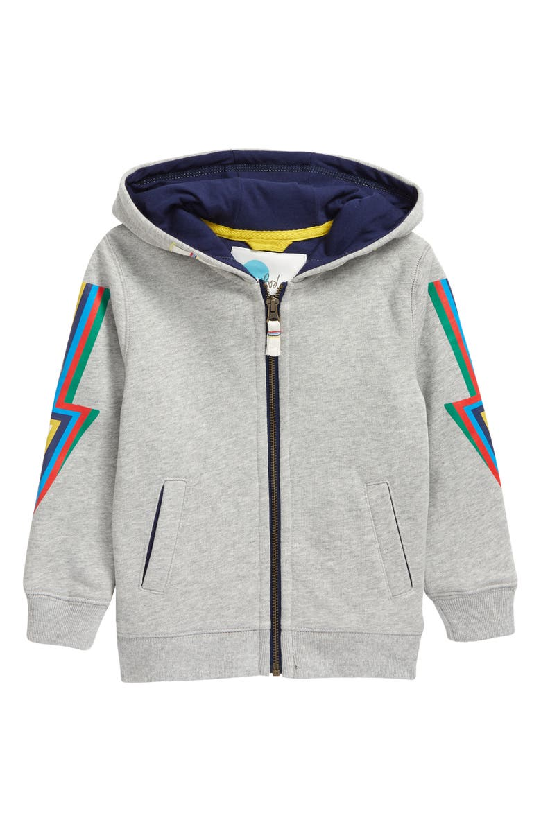 MINI BODEN Kids' Out of This World Full Zip Hoodie, Main, color, GREY MARL RAINBOW BOLT