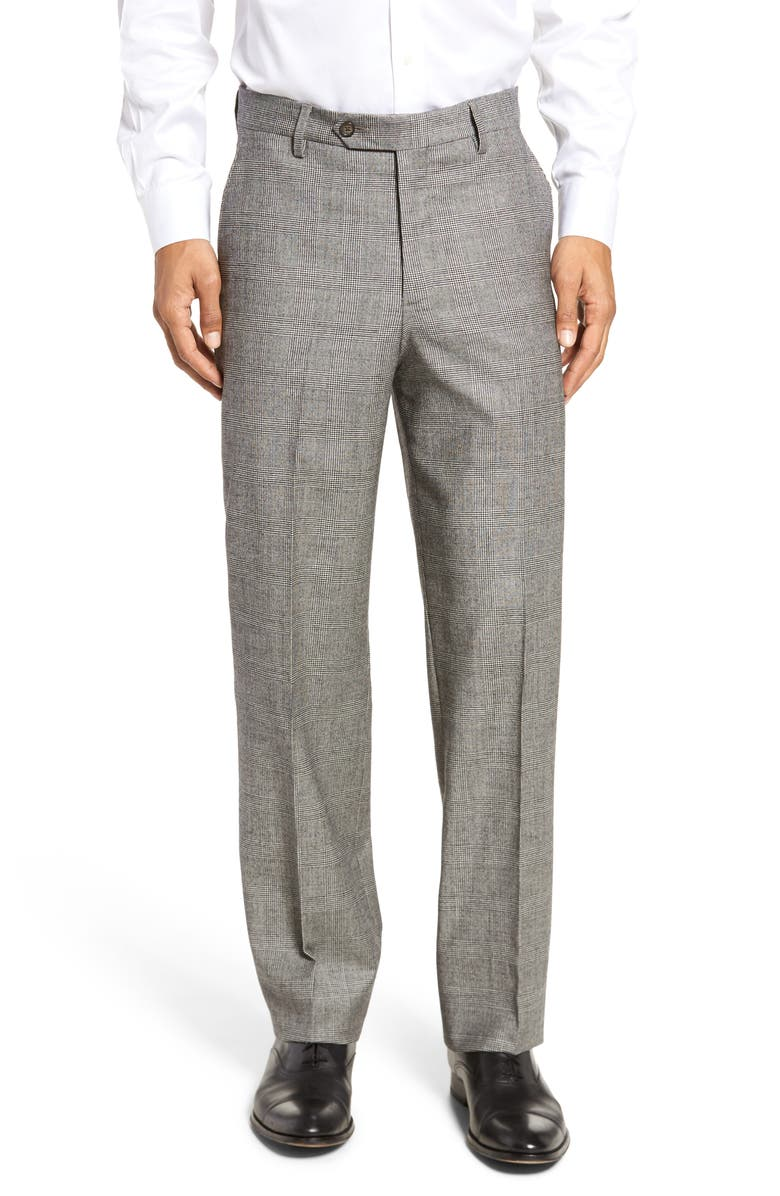 BERLE Touch Finish Flat Front Plaid Classic Fit Stretch Wool Dress Pants, Main, color, BLACK/ WHITE