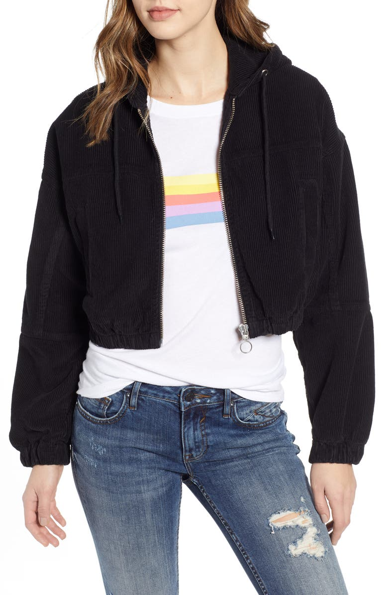 BDG URBAN OUTFITTERS Corduroy Crop Hooded Jacket, Main, color, 001