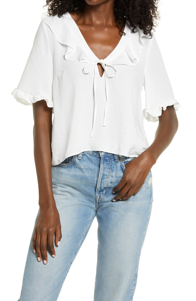 TOPSHOP Maisie Frill Blouse, Main, color, IVORY